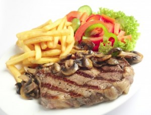 2 Flank Grilled Steak with Mushrooms