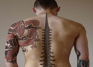 Back Bone Tribal Back Tattoo