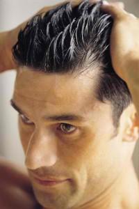 hair gel application men